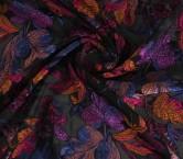 Jacquard flor organza fuxia violeta
