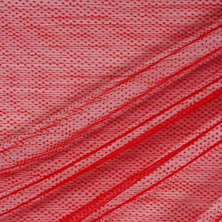Red pleated tulle