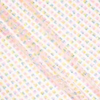 Tul bordado trebol 4 hojas rosa verde amarillo