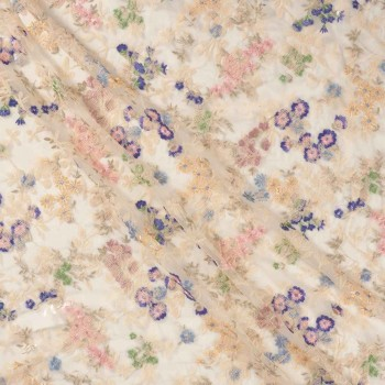 Nude bordado floral multicolor