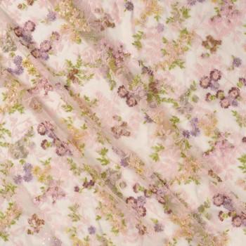 Pink bordado floral multicolo
