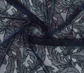 Bordado hojas navy