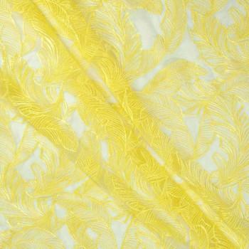 Bordado hojas amarillo limon
