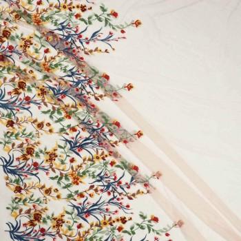 Coral bordado flor multicolor-