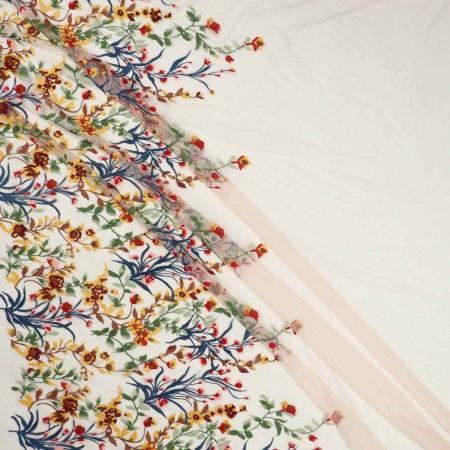 Bordado flor multicolor-emb 80-85cm- coral