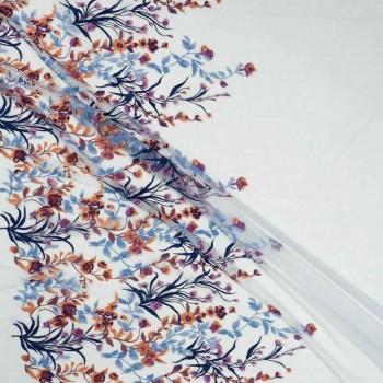 Bordado flor multicolor-emb 80-85cm- azul