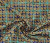 Jacquard cuadros lame azul turquesa