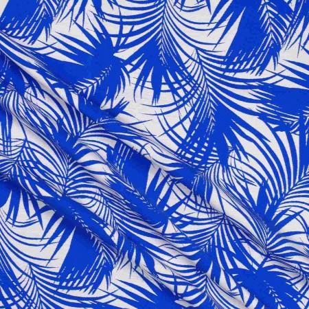 Jacquard hojas azul