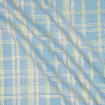 Jacquard cuadro lame azul