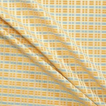 Jacquard cuadros azul naranja