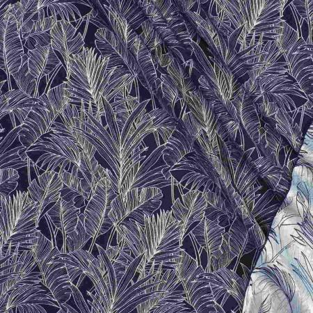 Jacquard hojas  marino