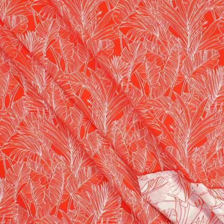 Jacquard hojas  rojo