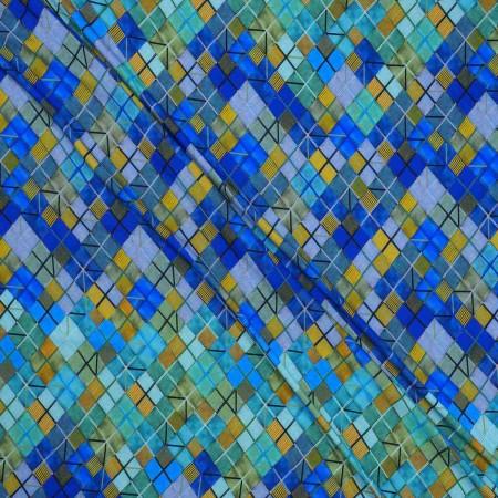 CrÊpe estampado rombos azul verde