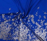 Jacquard flor lame pano 154cm azul