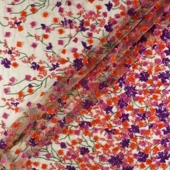 Flor paillete violeta rosa