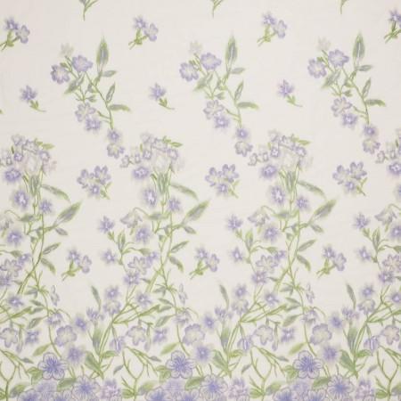 Bordado flor lila verde
