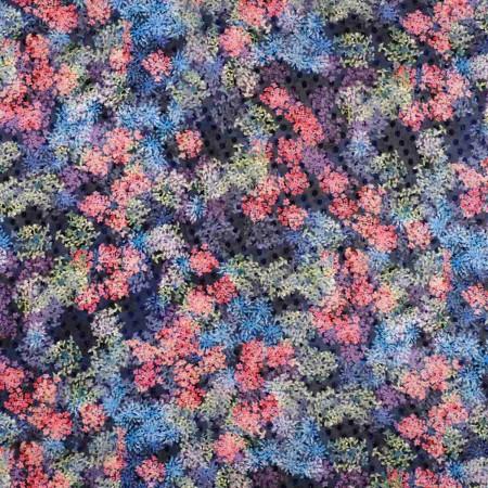 Gasa de topos estampada flores multicolor