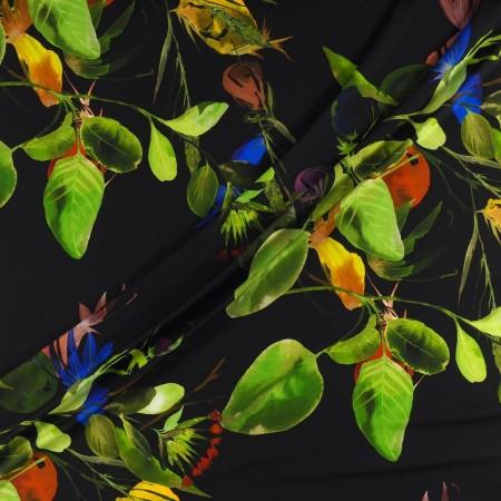 CrÊpe estampado hojas verde