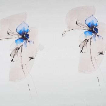 Raso estampado orquÍdea azul pano 120 cm