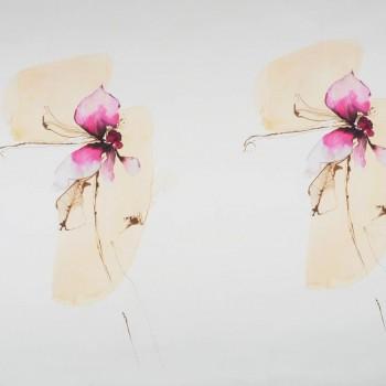 Raso estampado orquÍdea rosa pano 120 cm
