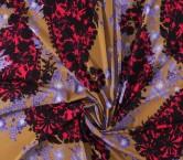 CrÊpe estampado flor fuxia lila