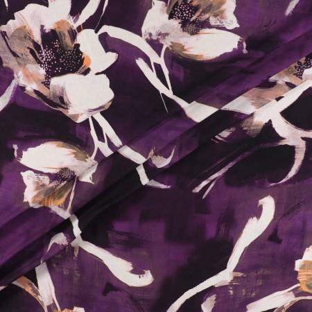 CrÊpe estampado flor berenjena
