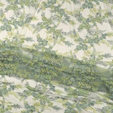 Pastel green bordado flor con