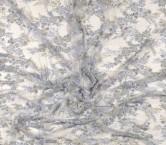 Grey bordado flor con pedreria