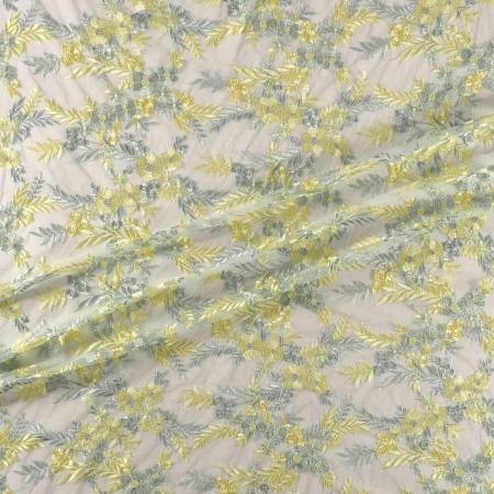 Bordado flor verde pastel