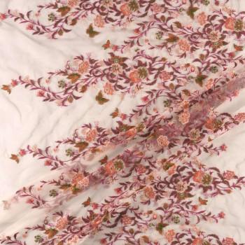 Bordado cenefa flores rosas