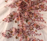 Pink orange multi floral embroidered tulle