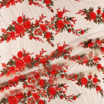 Bordado flor rojo coral