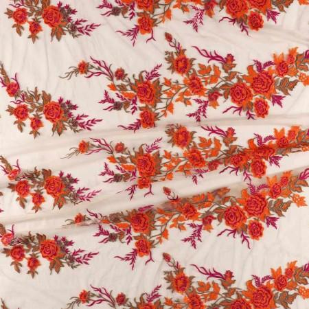 Bordado flor fuxia naranja