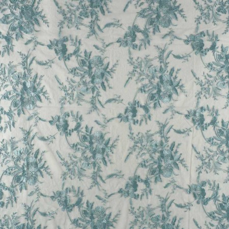 Turquoise green embroidered tulle