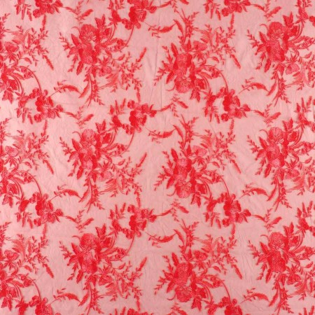 Coral embroidered tulle
