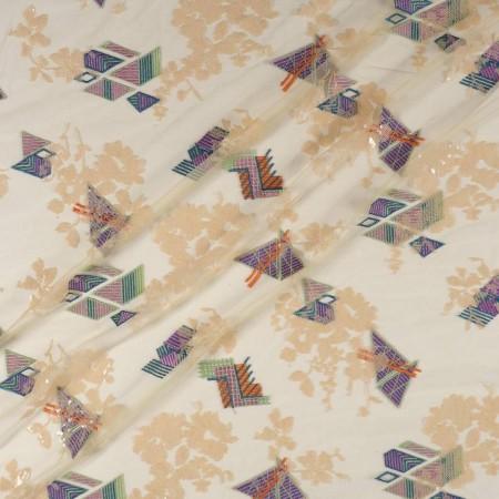 Bordado geometrico con sequins multicolor