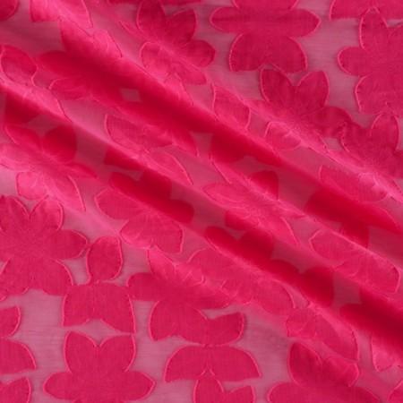 Jacquard flor organza rosa
