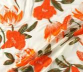 Orange jacquard flor organza