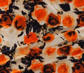Orange floral printed mikado