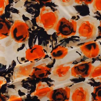 Orange floral printed mikado