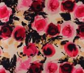Fuchsia floral printed mikado