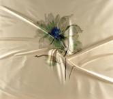 Mikado estampado flor central pano 139cm verde