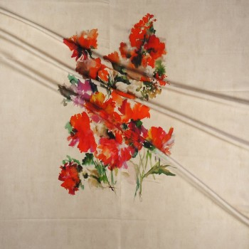 Red estampado flor pano 120cm