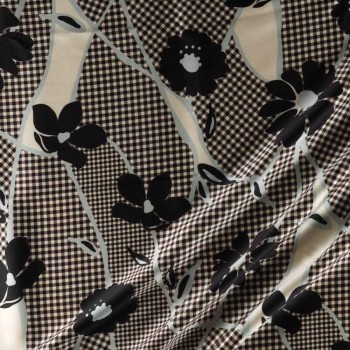Estamp. flor s/584 gris negro