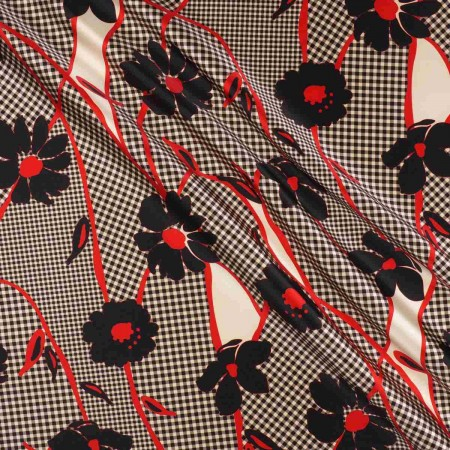 Mikado estampado flor vichy rojo