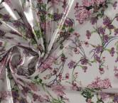 Gasa laminada flor fuxia verde