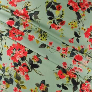 Multi floral turquoise printed mikado