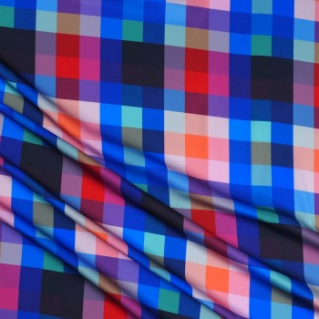 Fuchsia blue pixel print