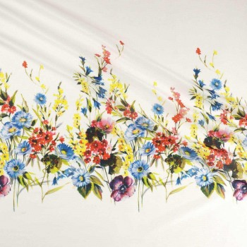 Multi floral printed textured jacquard panel 105cm