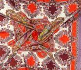 Garnet paisley printed silk satin